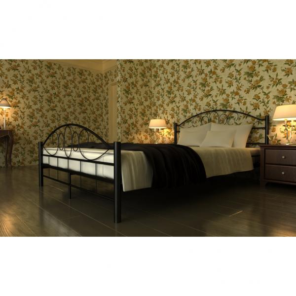 Bett Doppelbett mit Lattenrost 180x200 cm schwarz