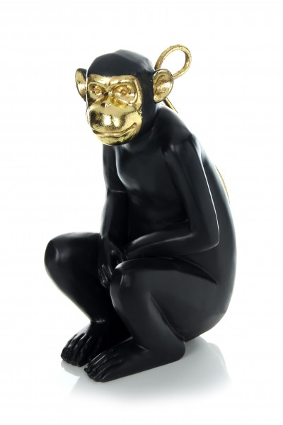 Skulptur Sitting Monkey 310 Gold / Schwarz