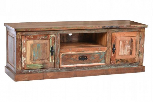 Shabby Chic Kommode - TV Sideboard aus Massivholz / Sheeshamholz