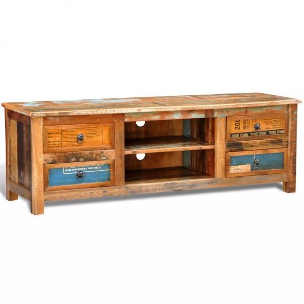 Design Antik Teak TV-Tisch Lowboard Sideboard 4 Schubladen