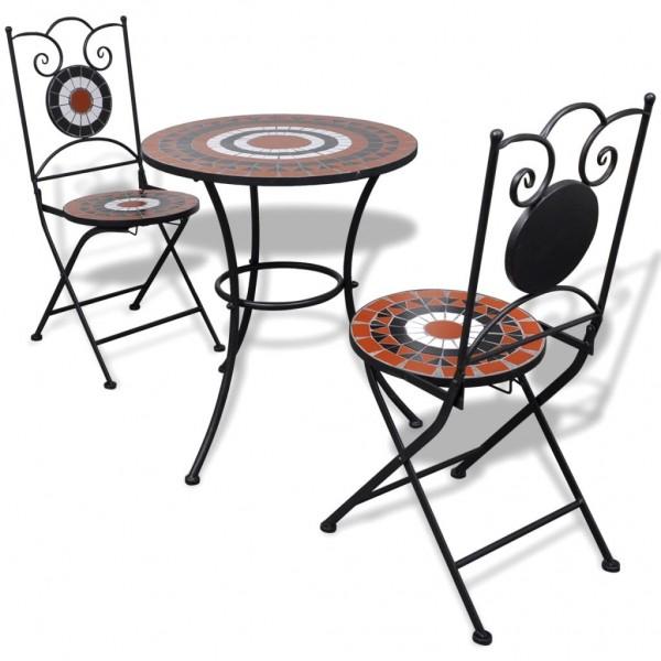 Garten Bistro-Set Mosaik Stühle Tisch 60 cm Terrakotta Weiß