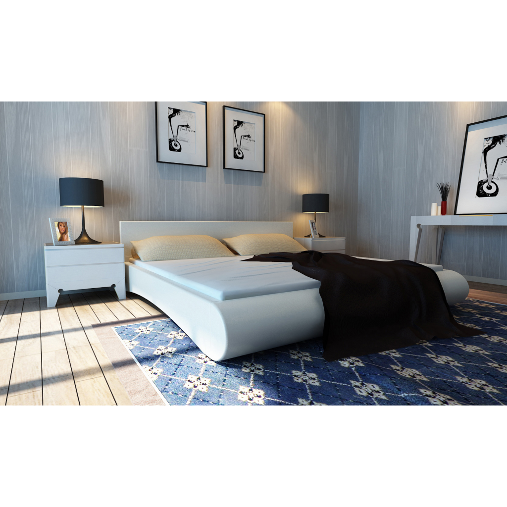 polsterbett 180x200cm lederbett mit lattenrost wei betten schlafzimmer r ume moebeldeal. Black Bedroom Furniture Sets. Home Design Ideas