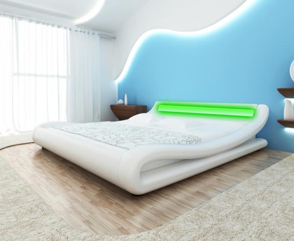 Lederbett weiß 140x200cm mit LED-Streifen + Matratze