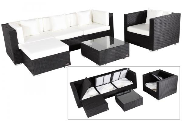 OUTFLEXX Sitzgruppe aus Polyrattan mit Kissenboxfunktion inkl. Polster für 5 Pers., schwarz