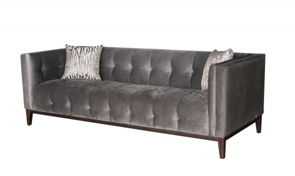 Sofa grau Chesterfield-Optik