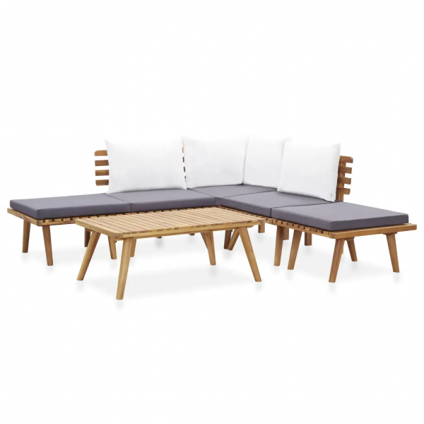 6-tlg. Garten-Lounge-Set Massivholz Akazie