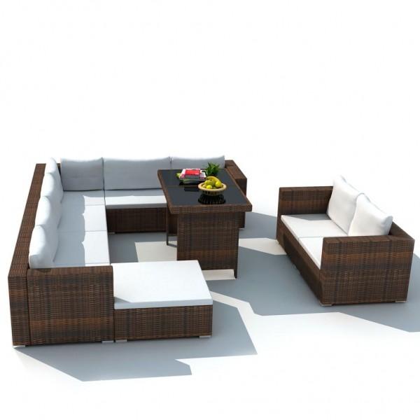 Garten-Lounge-Sitzgruppe Braun Poly Rattan
