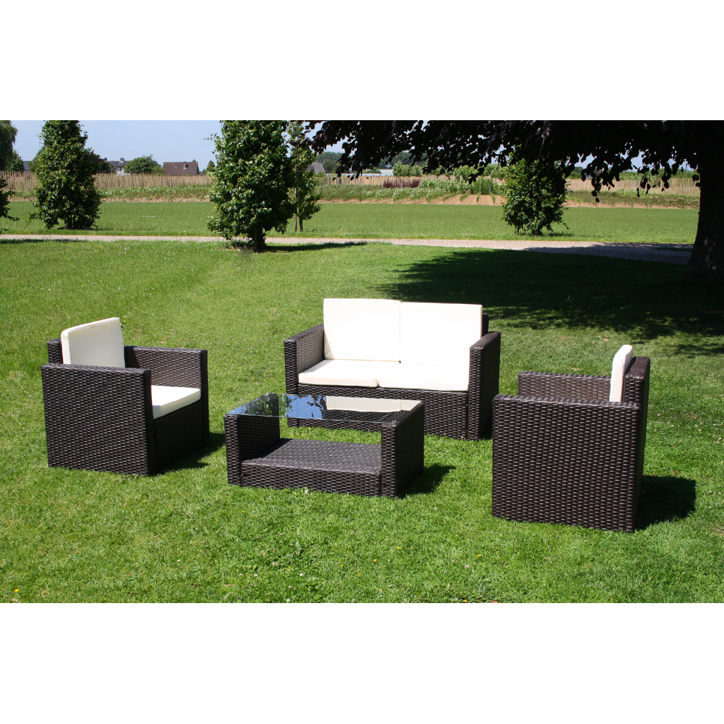 lounge gartenm bel set aus braunem rattan inkl kissen. Black Bedroom Furniture Sets. Home Design Ideas