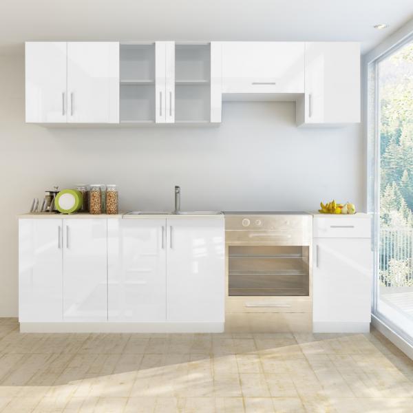 Einbauküche Küchenzeile weiß Hochglanzoptik 240 cm