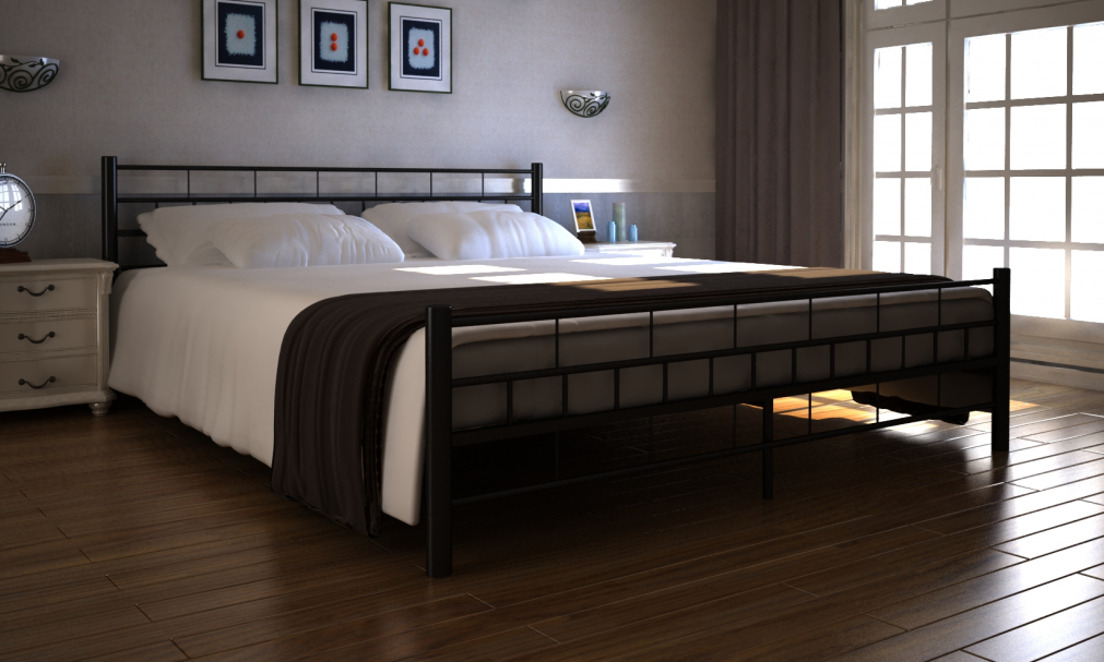 metall bett 180 x 200 cm mit matratze betten schlafzimmer r ume. Black Bedroom Furniture Sets. Home Design Ideas