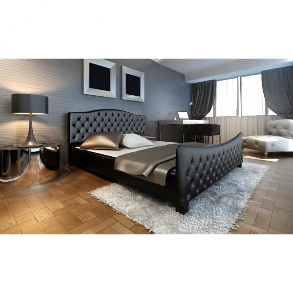 Polsterbett in schwarz 180 200 cm mit Lattenrost