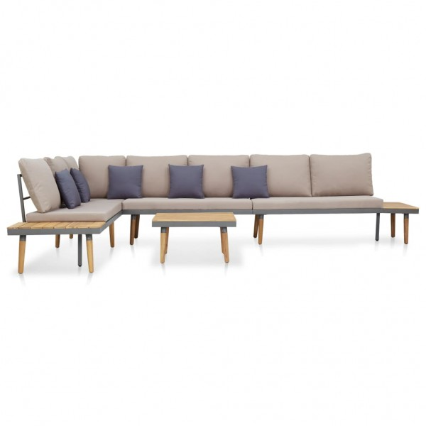 Garten-Lounge-Set mit Auflagen Massivholz Akazie Braun 5-tlg.