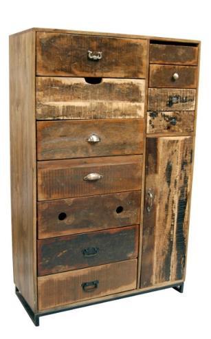 Shabby Chic Schrank indischer Büroschrank altes Holz