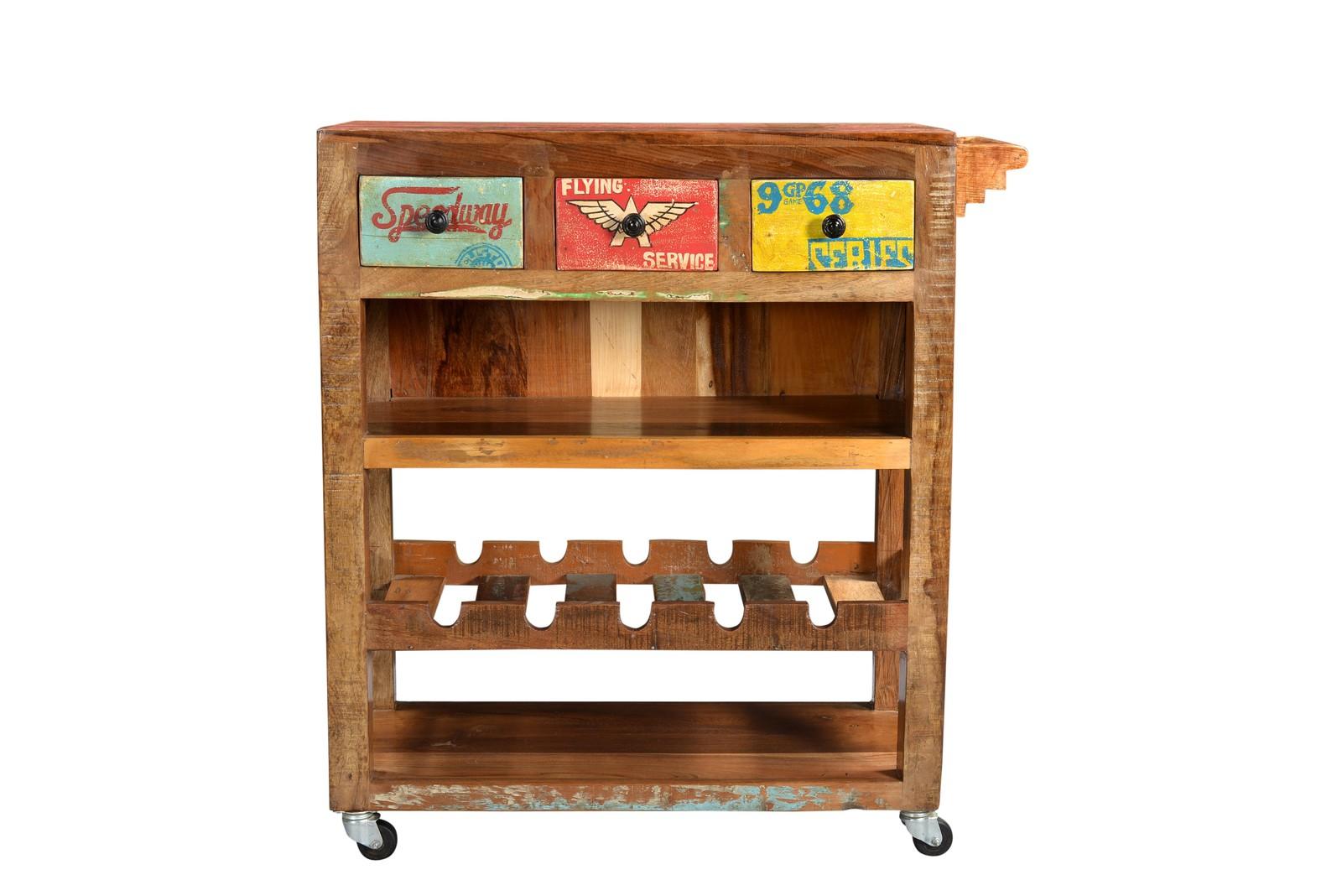 Vintage Küchenwagen - Kommode aus Recyclingholz mit Print ...