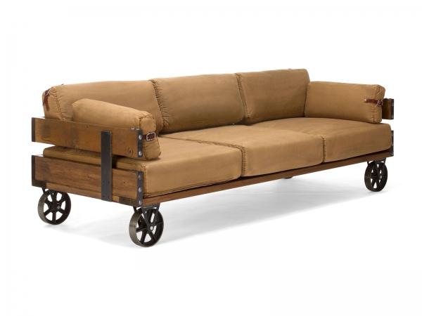 Couch im Industrie Look Sofa mit Rollen 3-Sitzer
