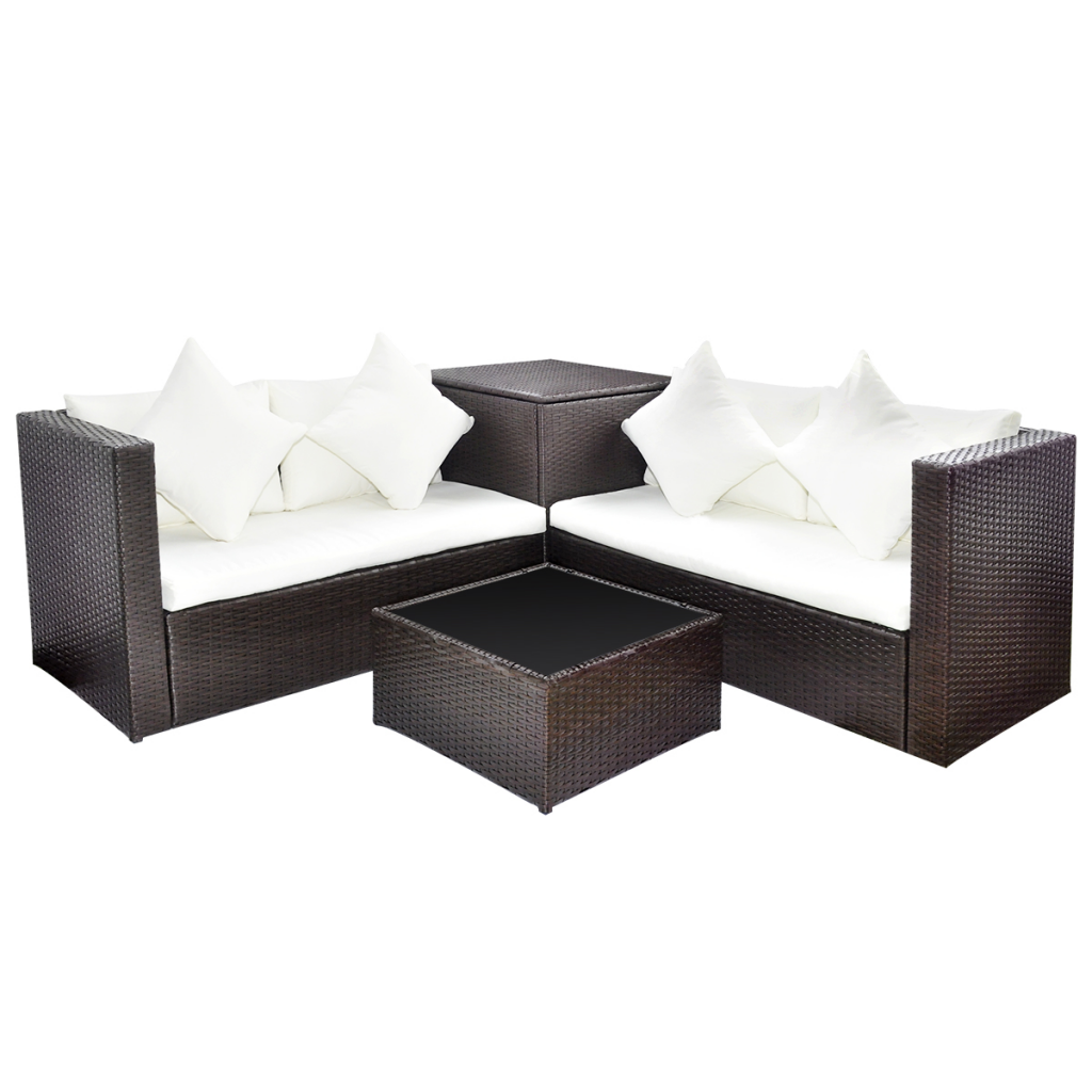 rattan garten m bel set mit aufbewahrungskiste braun. Black Bedroom Furniture Sets. Home Design Ideas