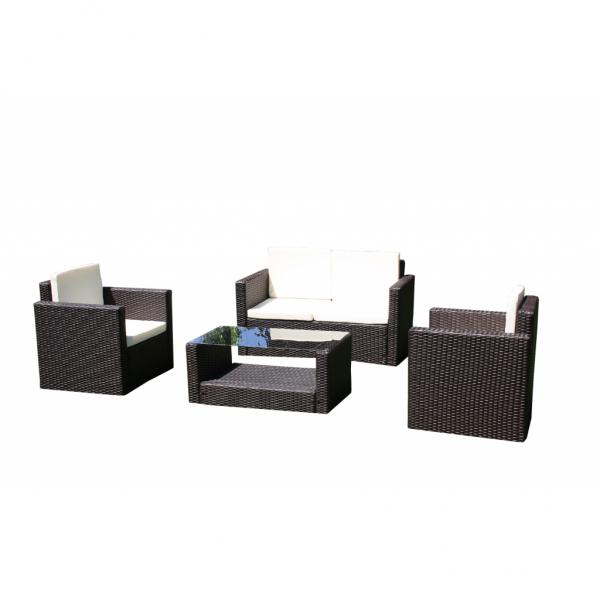 Lounge Gartenmöbel Set aus braunem Rattan inkl. Kissen