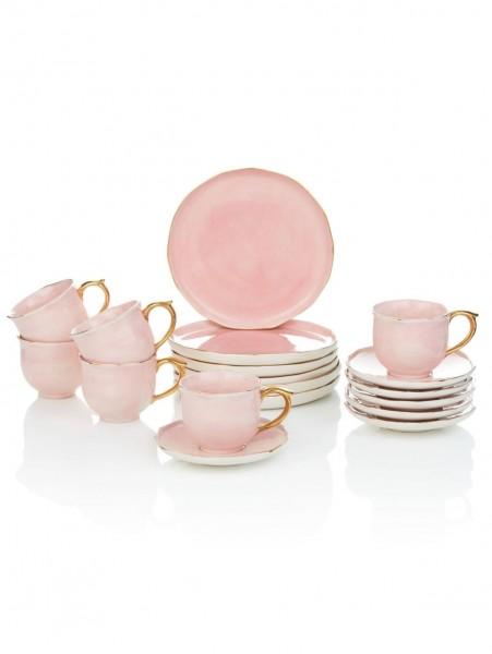 Kaffee-Service Vintage-Look rosa