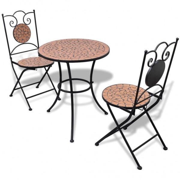 Garten Bistro-Set Mosaik Stühle Tisch 60 cm Terrakotta