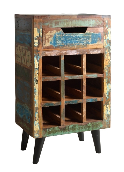 Weinregal aus Recyclingholz im Shabby Chic Look