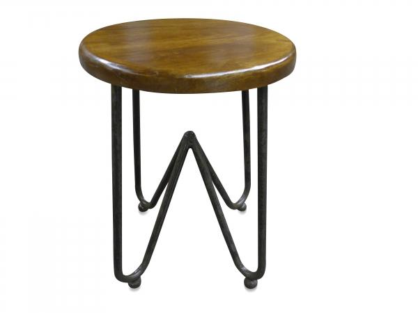 Sitzhocker aus Indien aus Eisen und altem Holz