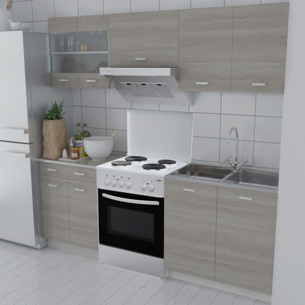 5-teilige Küchenzeile Einbauküche Eichenoptik + freistehender Herd