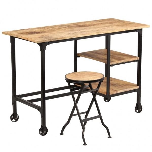 Home-Office Set - Schreibtisch + Hocker Mangoholz Massiv
