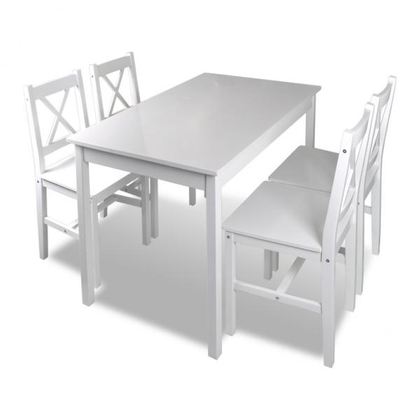 Holztisch + 4 Stühle Möbel Set Weiß Tisch Esstischset