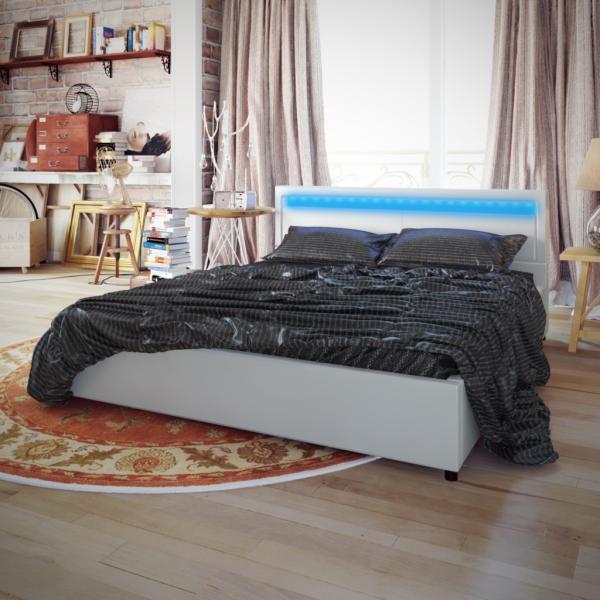 Kunstlederbett Bett Weiß 200x180 +LED-Streifen+Matratze