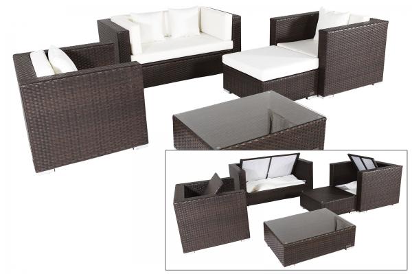OUTFLEXX Gartenmöbel Sitzgruppe aus Polyrattan mit Kissenboxfunktion inkl. Kaffeetisch für 5 Pers.