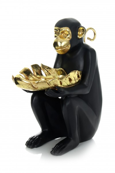 Skulptur Sitting Monkey 410 Gold / Schwarz
