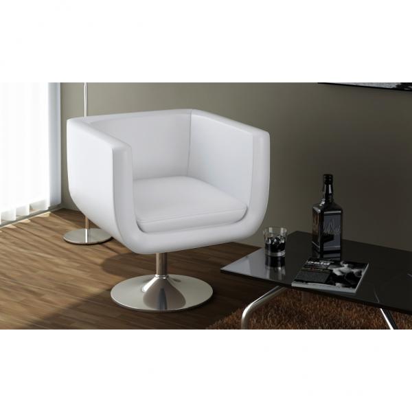 2 Stück Set LOUNGE Sessel Weiß Drehstuhl Cocktailsessel