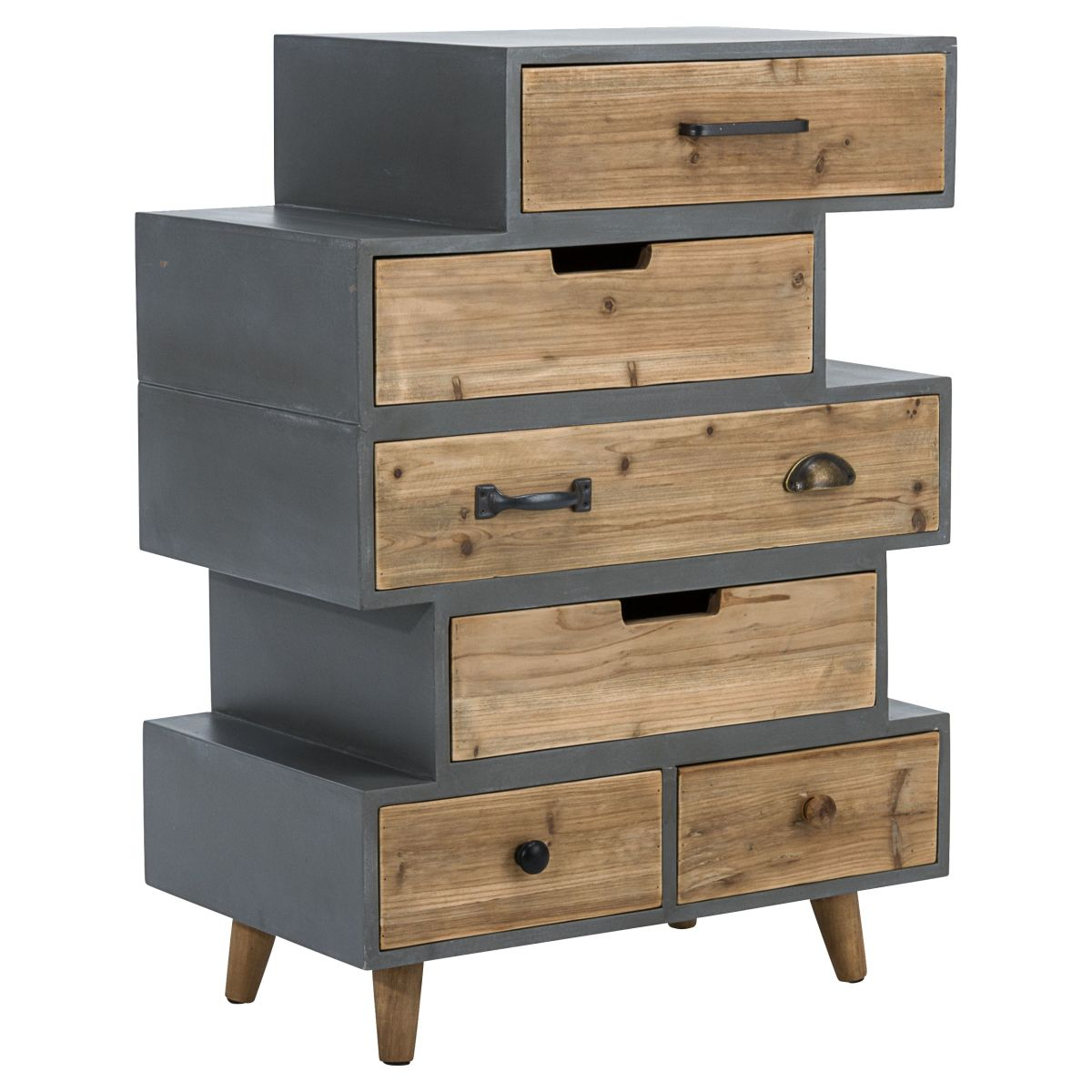 schubladenschrank kommode in beton optik versandkostenfreie m bel online. Black Bedroom Furniture Sets. Home Design Ideas