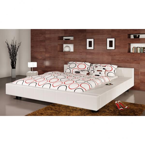Kunstleder Bett 140 x 200 cm Weiß