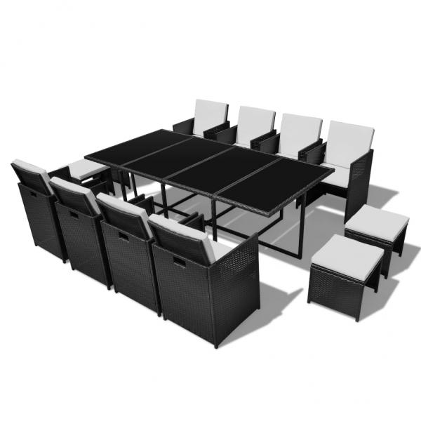 Rattan Set Gartenmöbel Essgruppe 1 Tisch + 8 Stühle + 4 Hocker