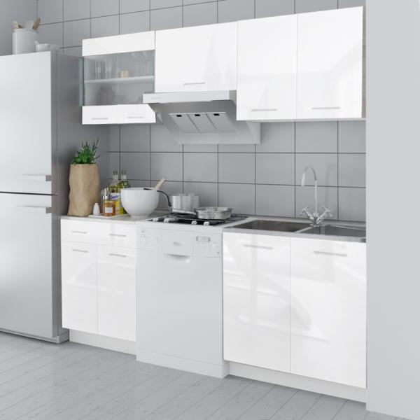 Küchenzeile Einbauküche weiß Hochglanzoptik 200 cm