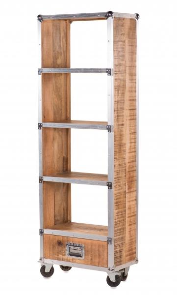 Bücherregal Industrial Chic Design aus Mangoholz
