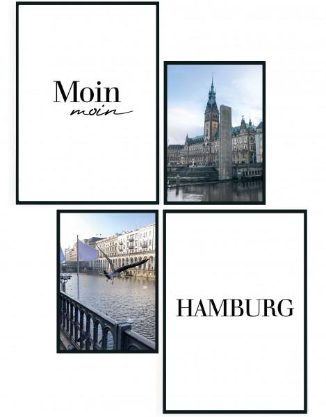 4er Set Poster Hamburg - 2X DIN A4, 2X DIN A5 - Hamburg Souvenir