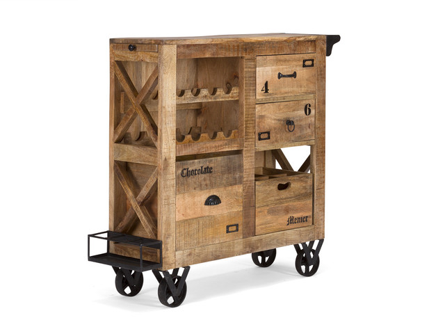 Möbel Industrie Look industrie möbel kommode rustikal mit rollen servierwagen
