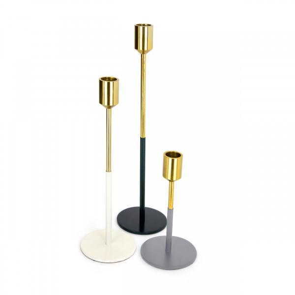 Kerzenhalter 3er Set Saga 130 Gold / Weiß / Schwarz / Grau