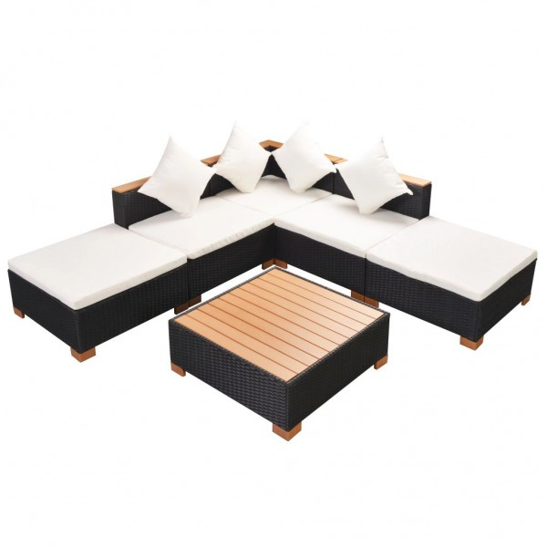 Garten-Lounge-Set Poly Rattan WPC