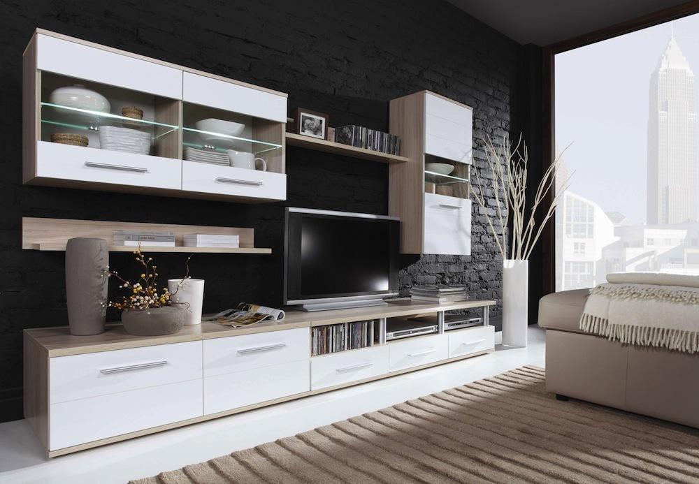 wohnwand schrankwand 5 teilig wei buche m bel wohnzimmer r ume. Black Bedroom Furniture Sets. Home Design Ideas