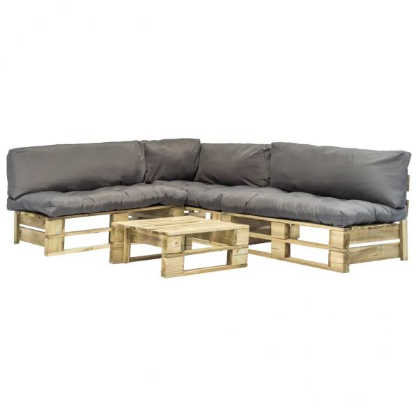 4-tlg. Garten-Lounge-Set Paletten Graue Auflagen Holz