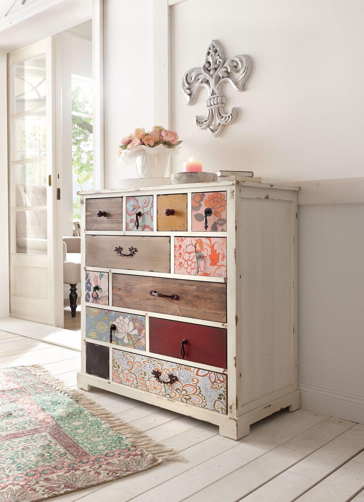 massivholz kommode schubladenschrank rio shabby style versandkostenfreie. Black Bedroom Furniture Sets. Home Design Ideas