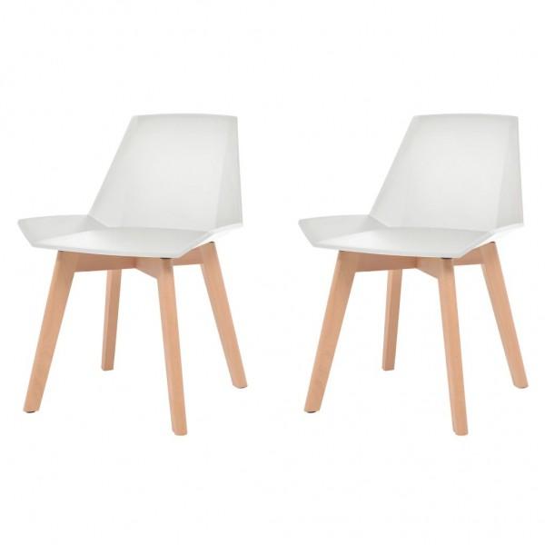 Esszimmerstühle 2 Stk. Weiß Kunststoffsitz Buchenholzbeine