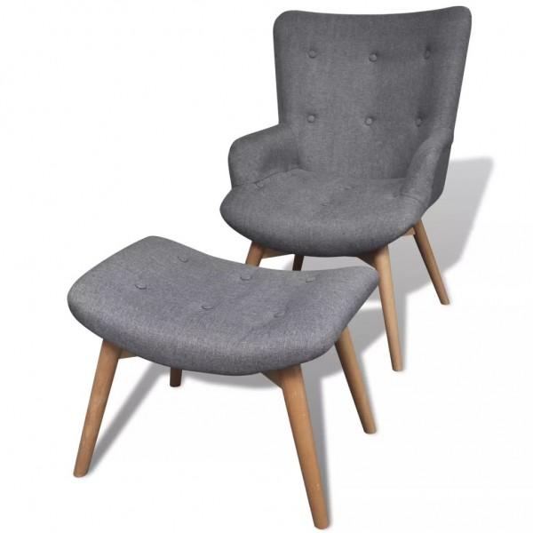 Sessel mit Hocker grau