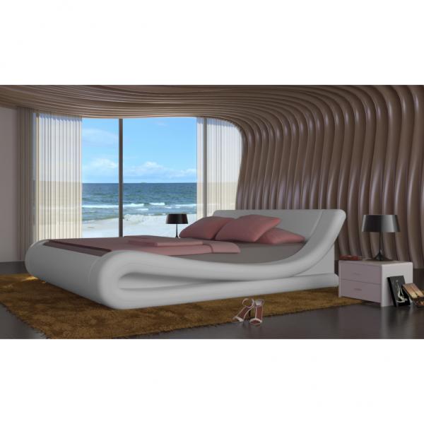 Kunstleder Bett mit Matratze 140 x 200 cm