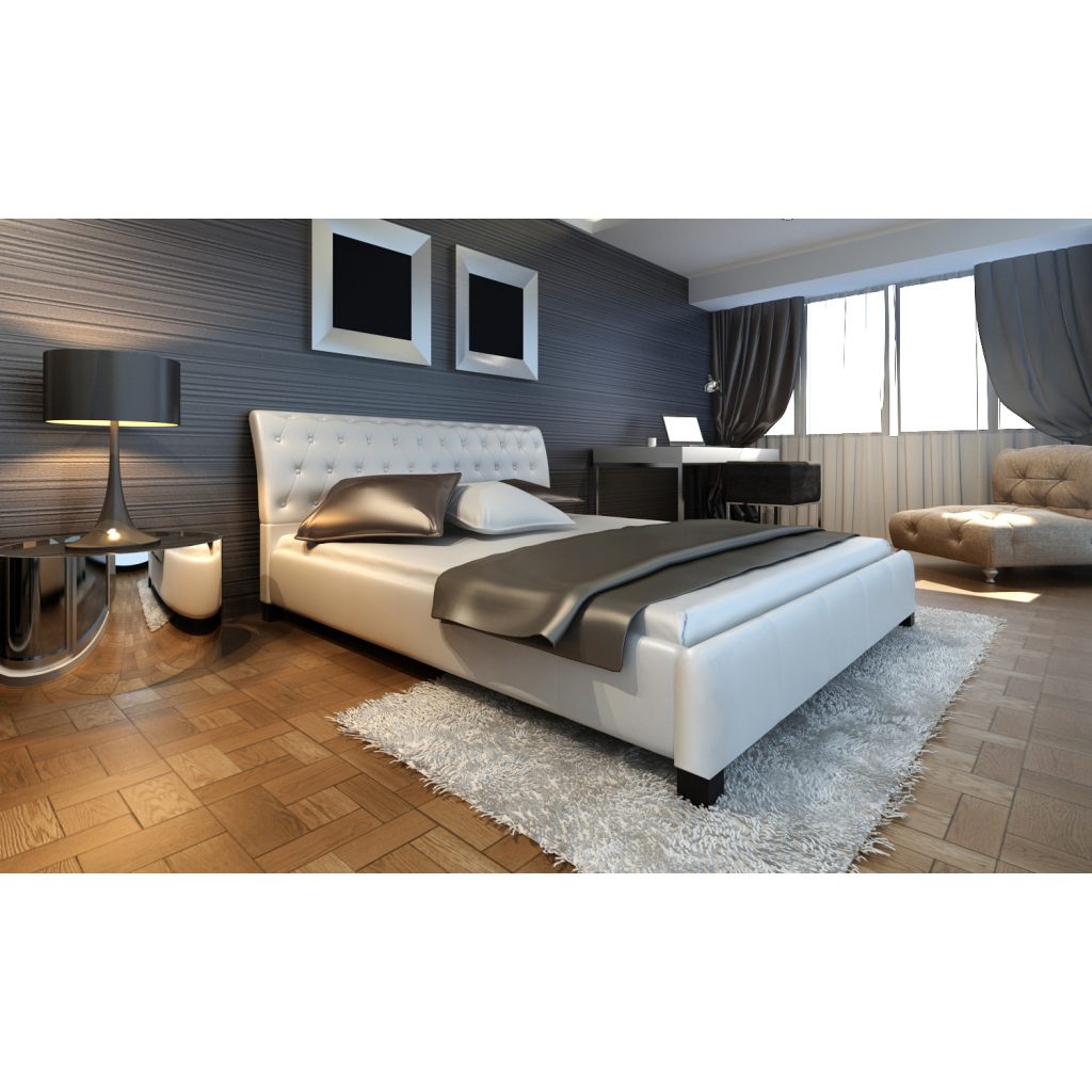 polsterbett doppelbett 140 cm wei betten schlafzimmer r ume. Black Bedroom Furniture Sets. Home Design Ideas