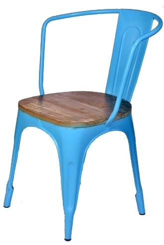 Industrial Chic Bistrostuhl Industriedesign mit Holzsitz