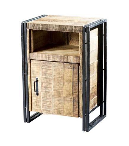 Industrial Nachtkommode Nachttisch aus Eisen und Massivholz